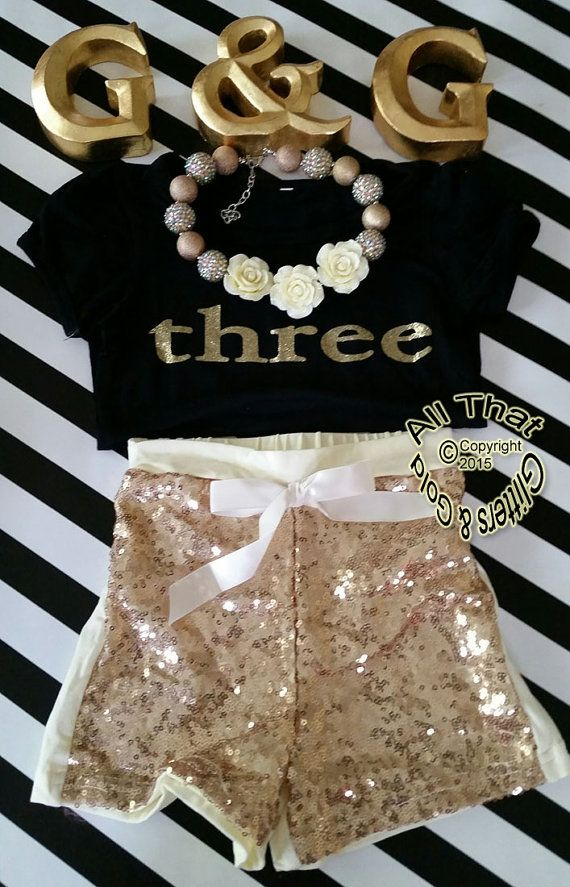 27f435ff69d Gold Three Birthday Outfit Cute Black and by GlittersandGoldShop ...