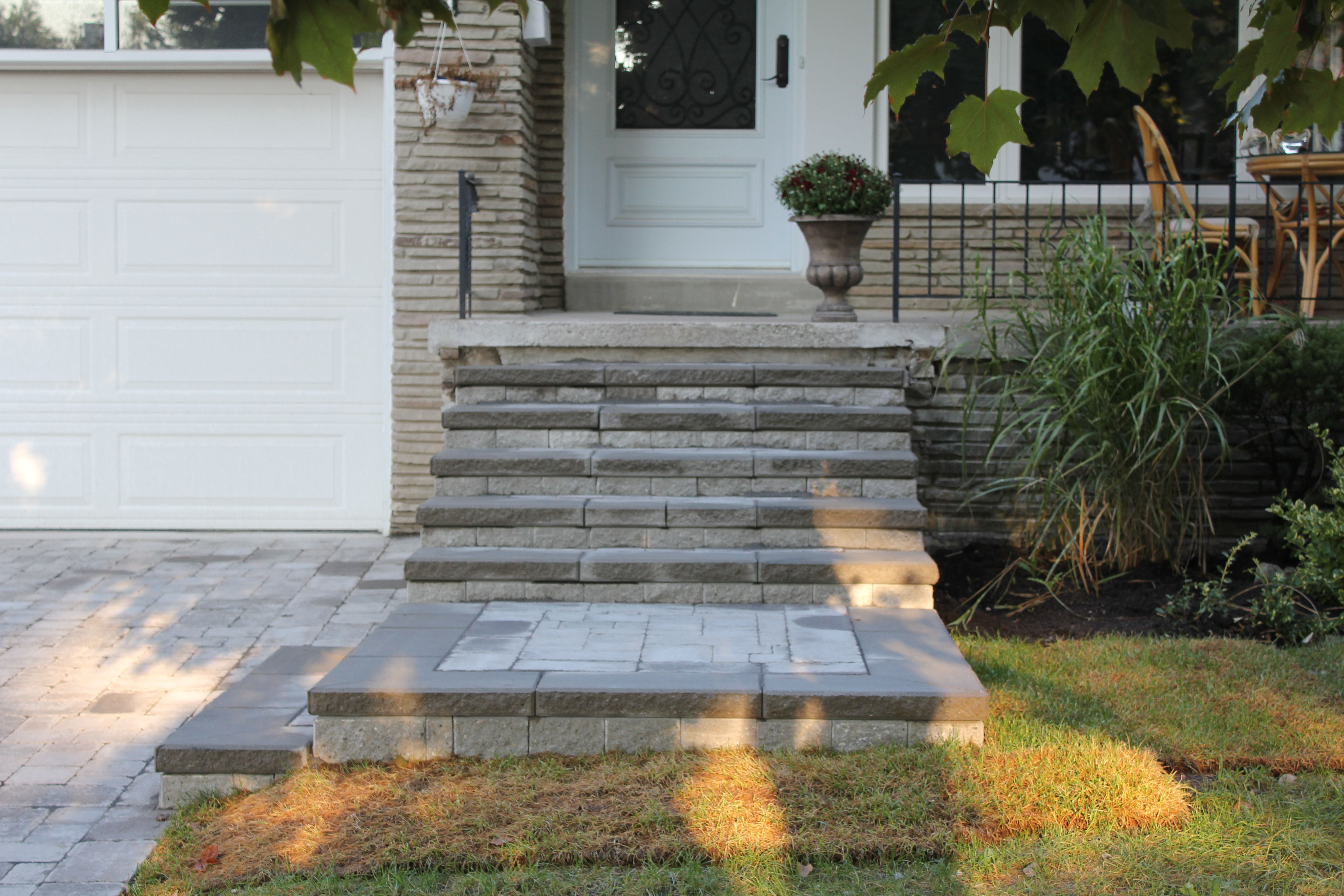 front steps design ideas unilock roman pisa natural grey brussels block - Front Steps Design Ideas