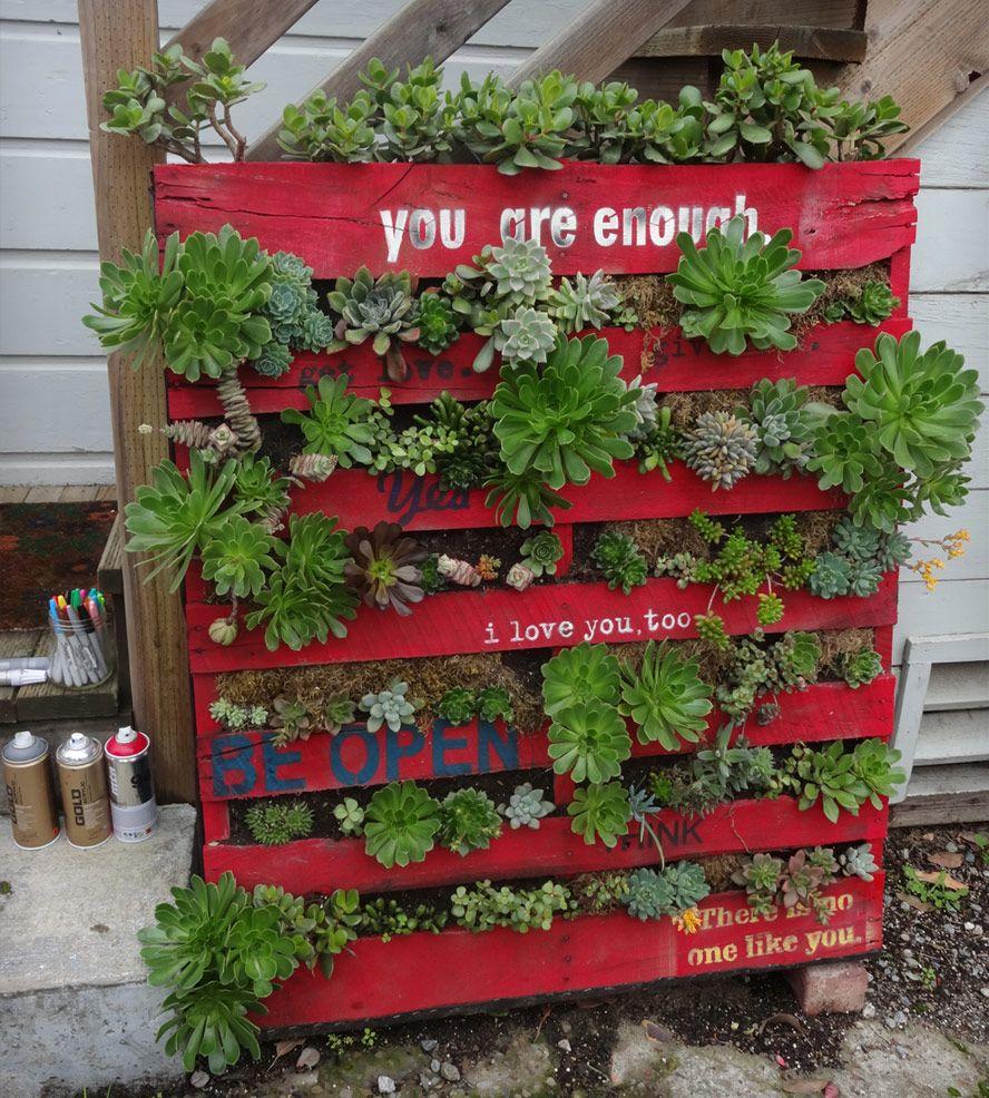 Homemade garden art ideas - Vertical Succulent Garden Art With Painted Love Notes