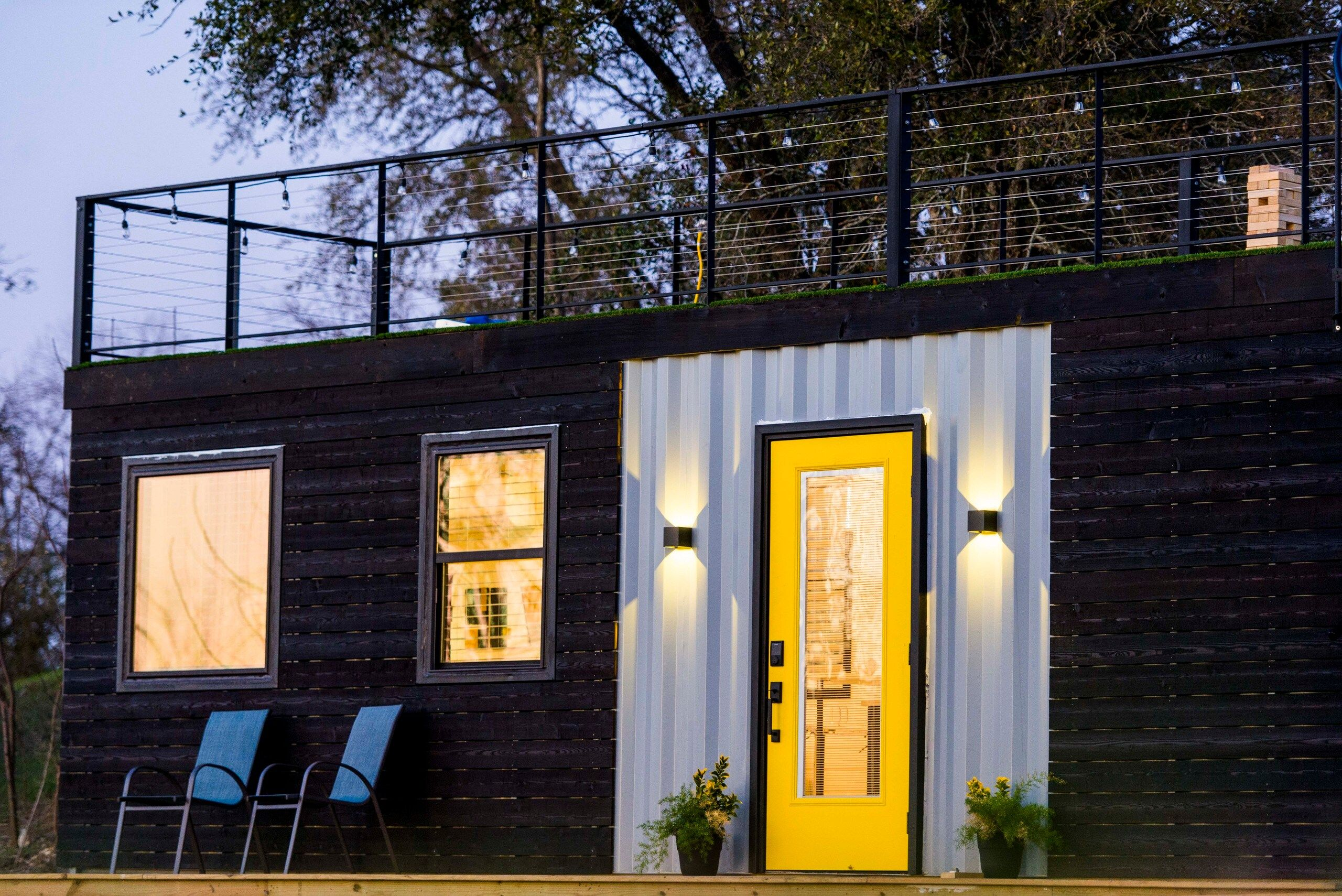 Astroturf Covered Rooftop Deck Container Home From Texas Living In A Container In 2020 Container House Container Homes Australia Tiny Houses For Rent