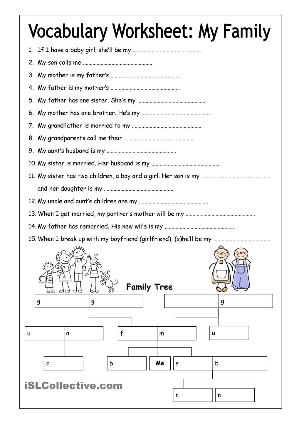 Vocabulary Worksheet - My Family (Medium) | English 6th grade ...