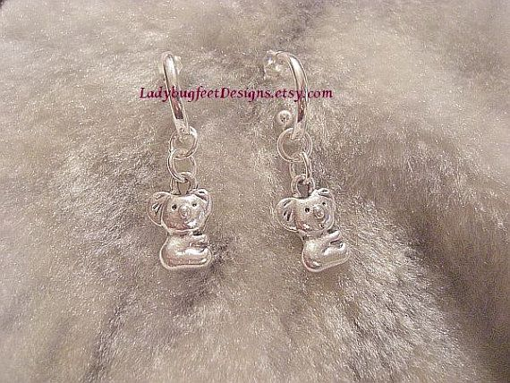 KOALA  STERLING SILVER Earrings Silver by LadybugfeetDesigns