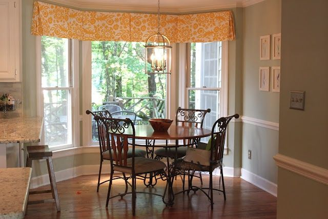 Wonderful Box Pleat Valance In Breakfast Nook With Bay Window