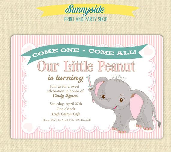 Little Peanut Elephant 1st Birthday Party by sunnysideprintparty – Elephant Party Invitations