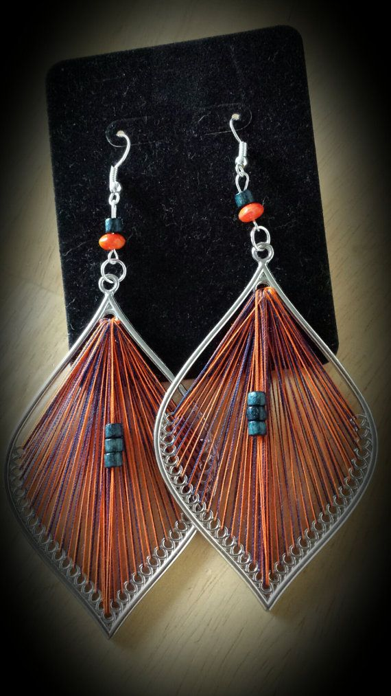 Orange and Navy Blue  Thread Earrings by SoSweetSoSassy on Etsy