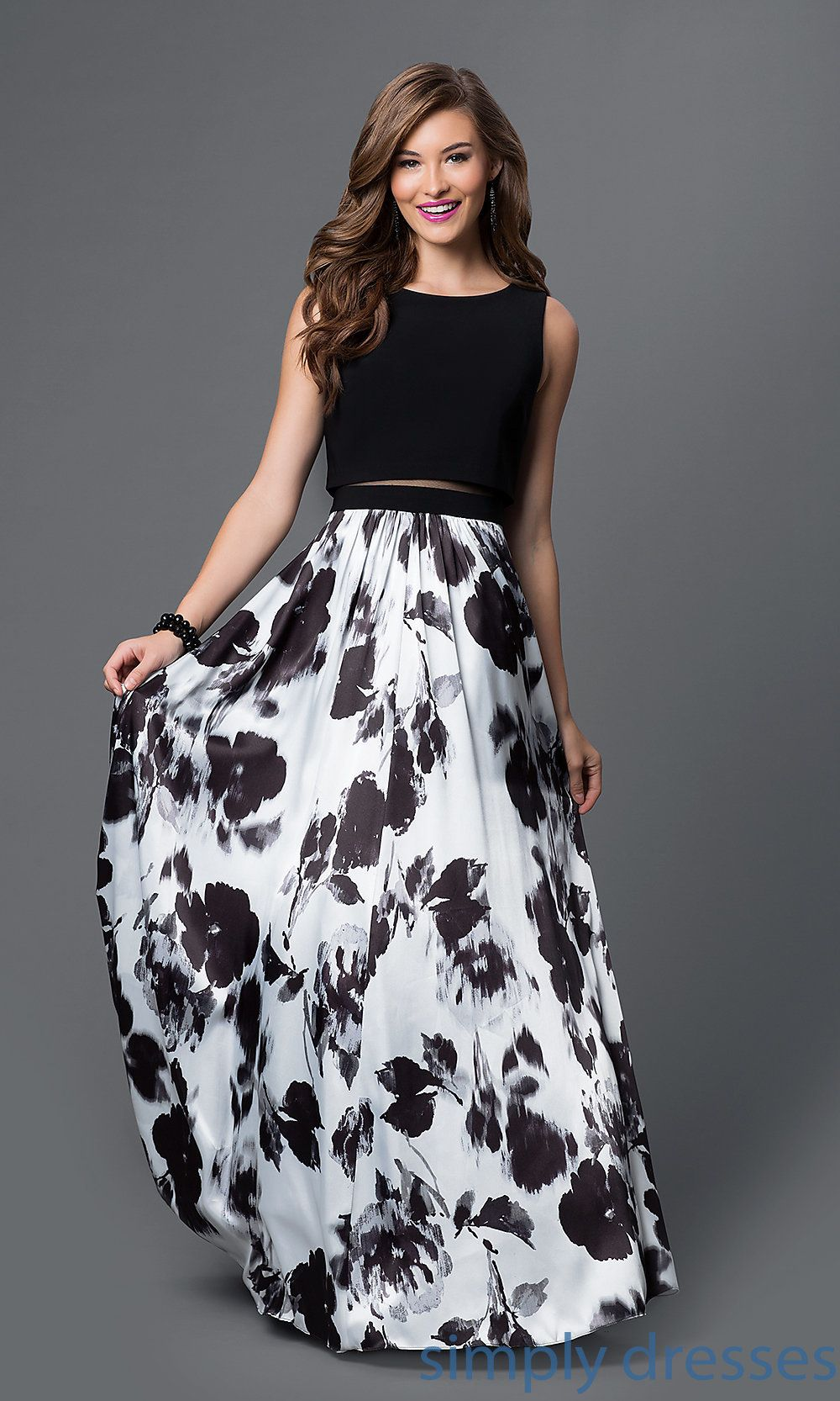 45f43942d88 Shop long floral-print evening gowns and black and white dresses at Simply  Dresses. Mock two-piece prom dresses with sheer mesh midriffs for formals.