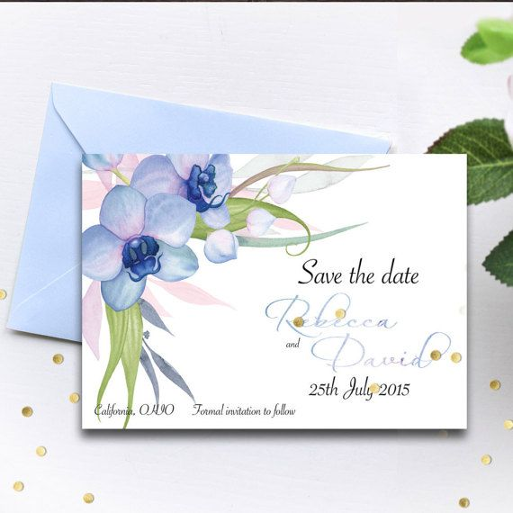 save the date template blue orchid set edit yourself