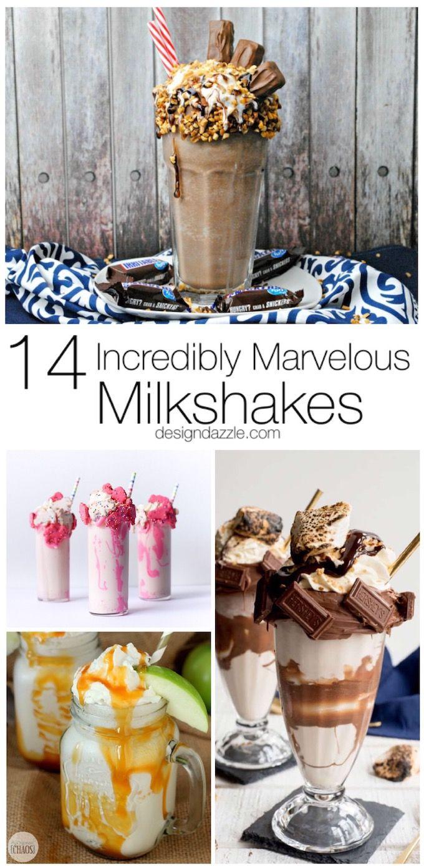14 Incredibly Marvelous Milkshakes Design Dazzle Frozen Treats Recipes Yummy Milkshake Recipes Milkshake Recipes