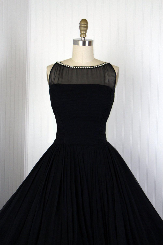 1950s Dress Vintage 50s Dress Black Silk Chiffon Designer Etsy Vintage Dresses 50s Dresses Black Dress [ 1500 x 1000 Pixel ]