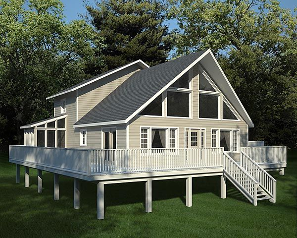 Elevation of A-Frame Cabin Contemporary House Plan 10515 House