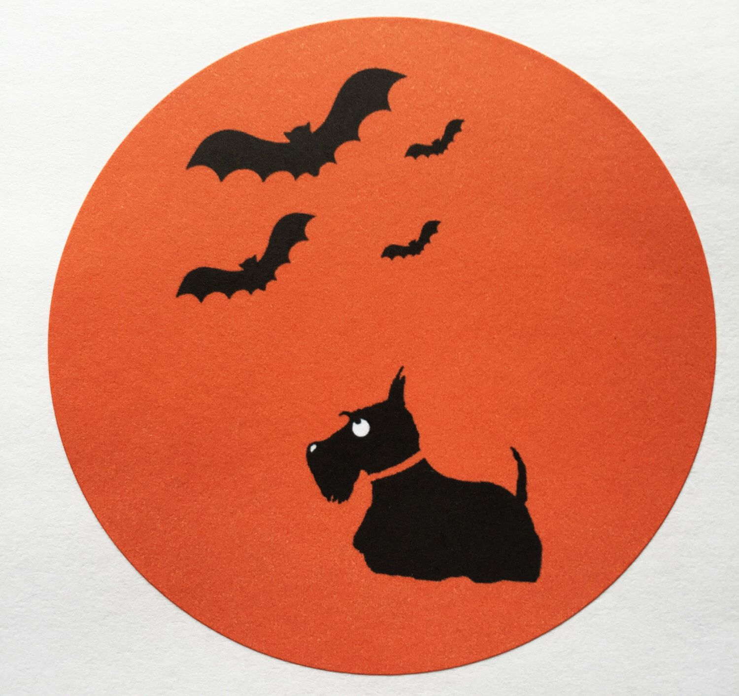 across or Inches Scottie Dog circle stickers / envelope seals 12 'Happy  Halloween' stickers & 12 Scottie Dog stickers Please note colours may vary  from your ...
