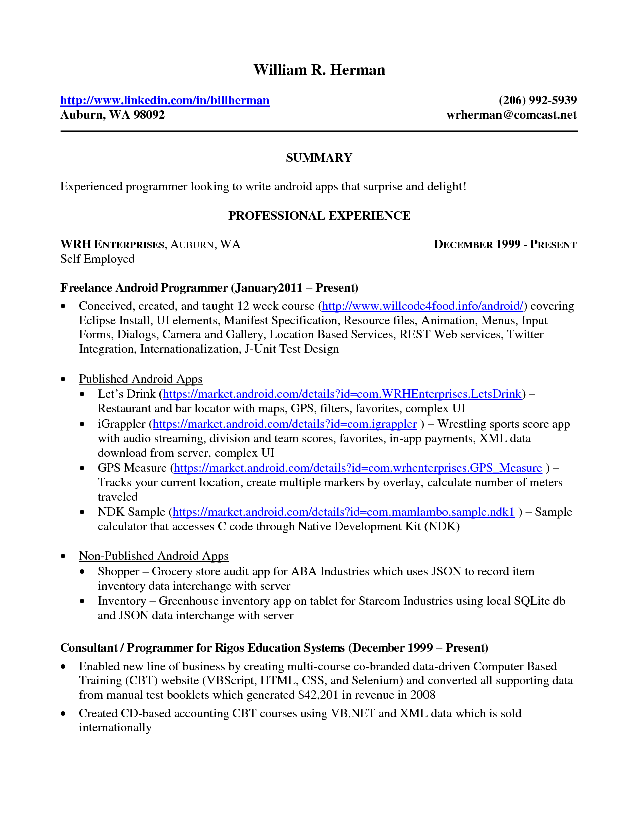 sample resume self