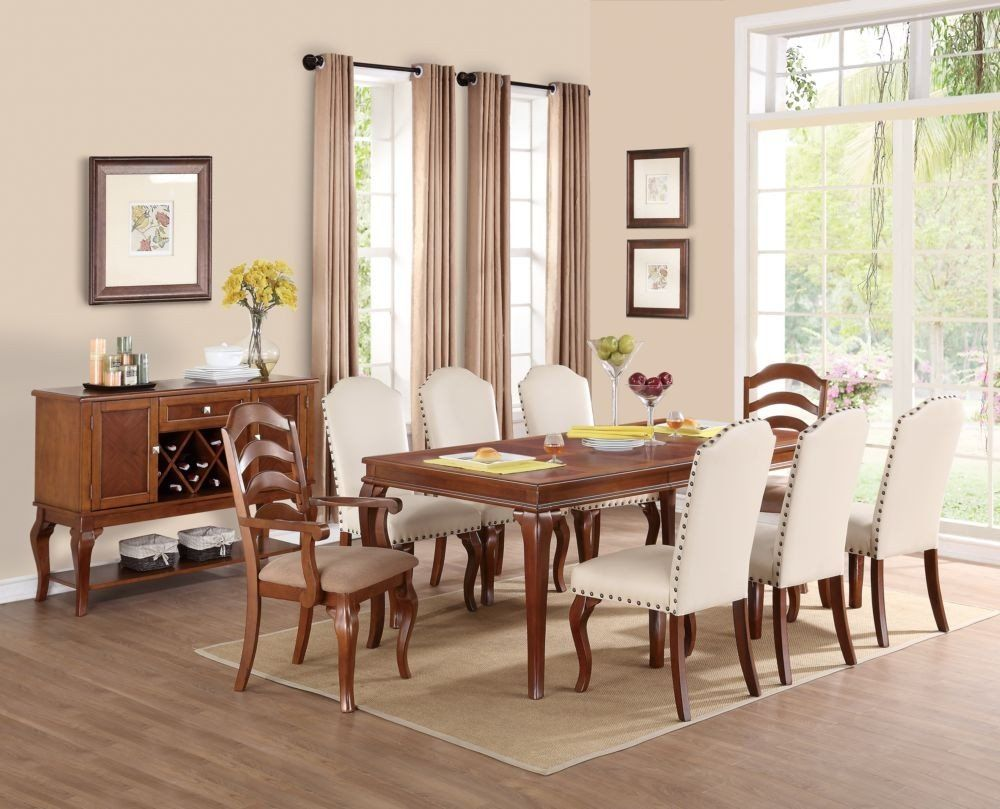 Poundex F2190 Set1 9 Pcs Oak Rectangular Dining Table Set