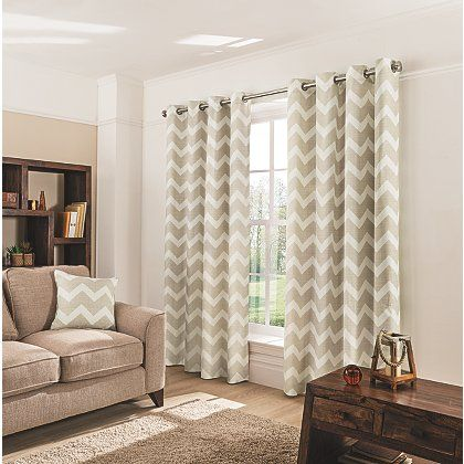 George Home Natural Chevron Eyelet Curtains | Curtains | George at ASDA