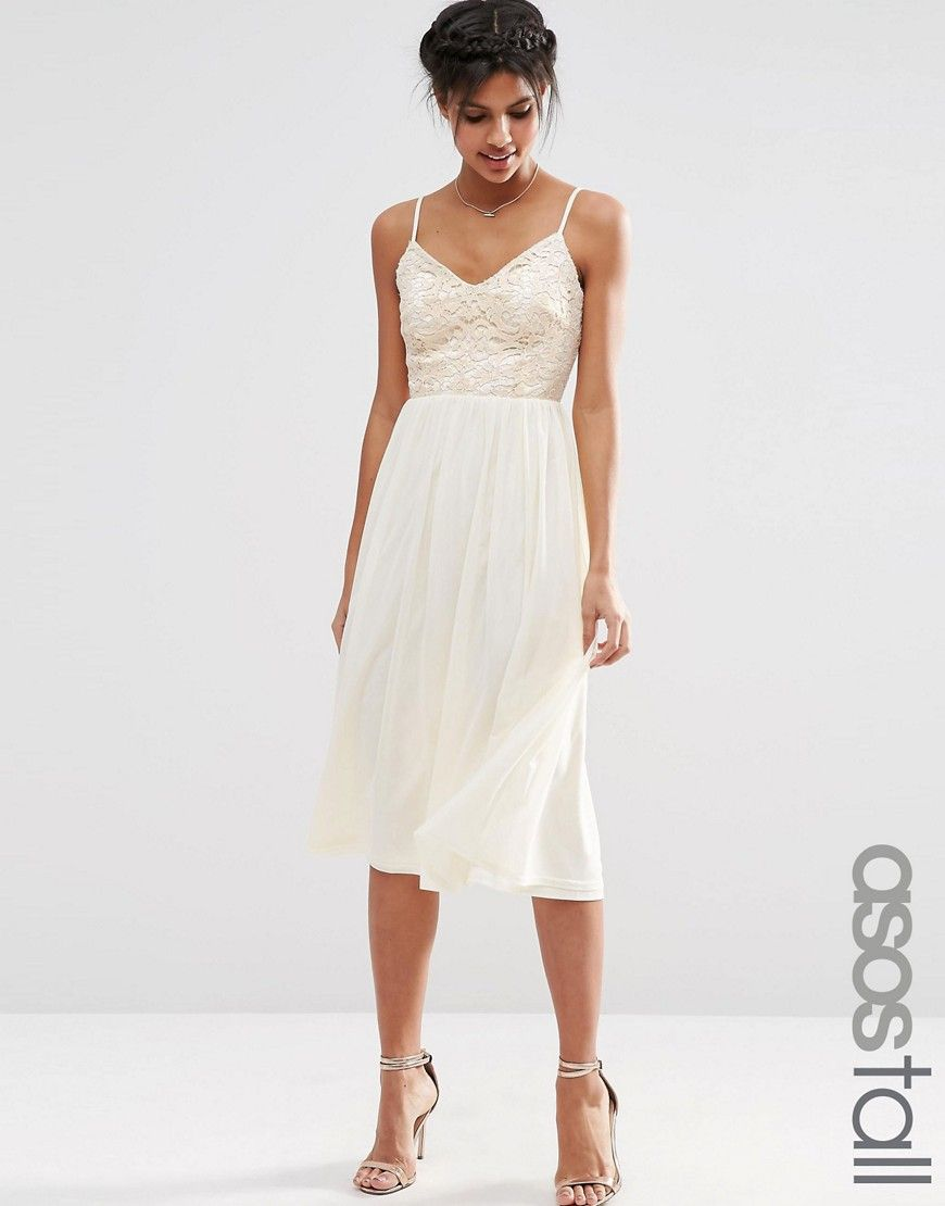 Asos tall wedding guest dresses  TALL Lace Sequin Bodice Cami Midi Skater Dress  Midi skater dress