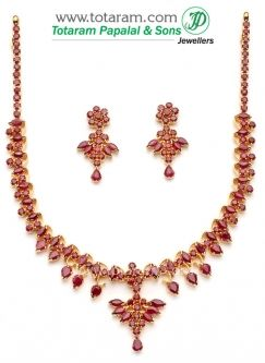 b7d2281bc7 22K Gold Ruby Necklace & Drop Earrings set | neckles | Pinterest ...