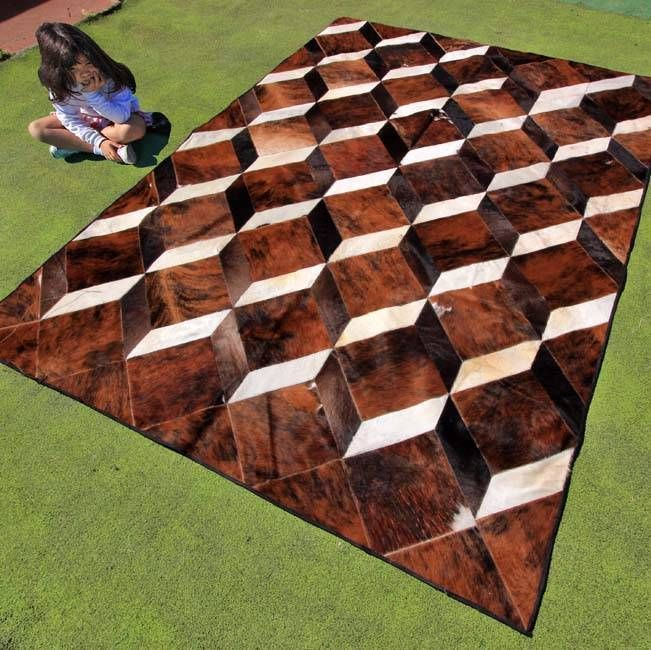 New Patchwork Cowhide Area Rug Leather Carpet Mad Cow Town