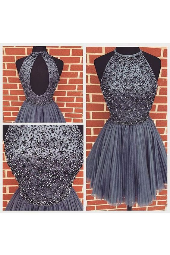 New Arrival Open Back Gray Tulle Short Prom Dresses Homecoming Dress High Neck Halter Bodice Mini Cocktail Dress: