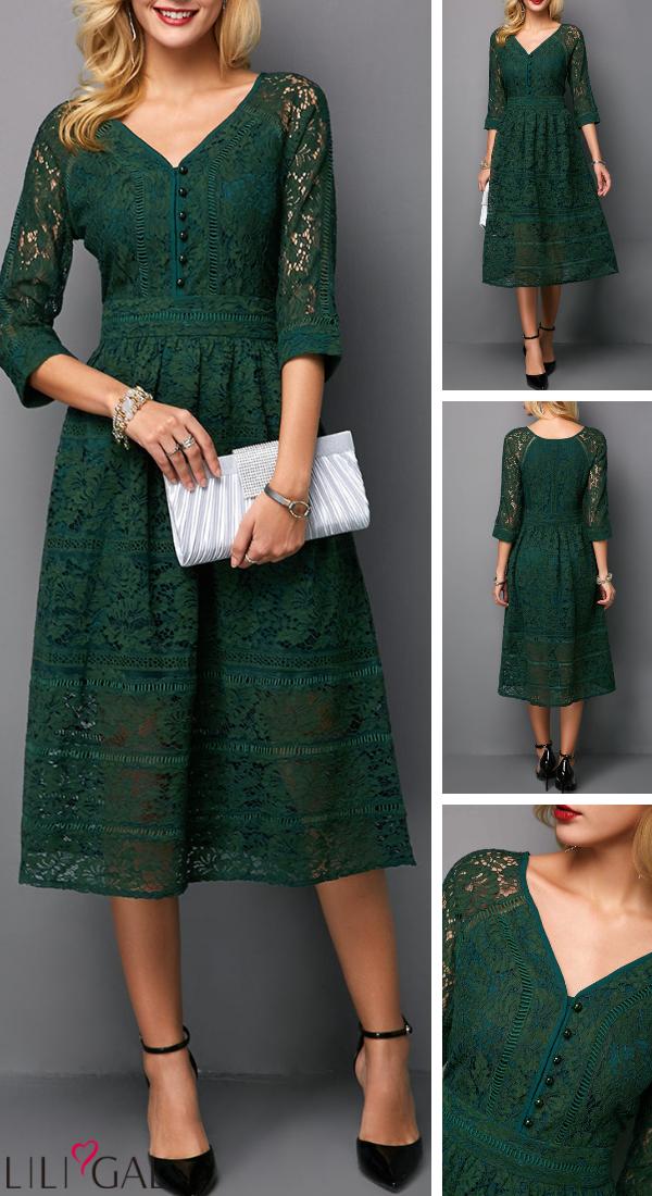e111873c886 USD29.22 Button Detail Dark Green Three Quarter Sleeve Lace Dress  liligal   dresses