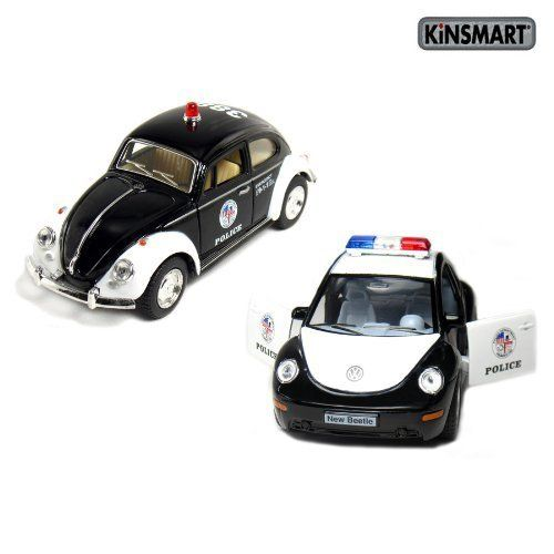 """Set Of 2: 5"""" Classic And New Volkswagen Beetle Police Cars"""
