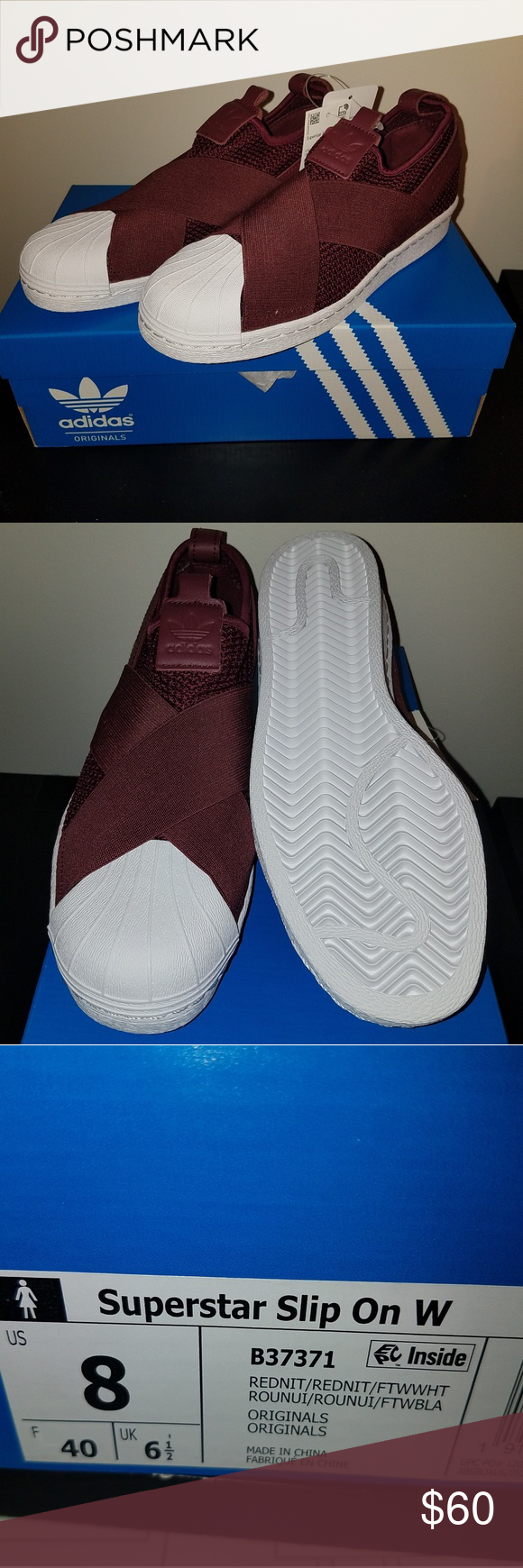048eb5a14b3e Adidas Superstar Slip-On Sneakers 8 Red Night Adidas Superstar Slip On  Sneakers. Women s size 8 adidas Shoes Sneakers