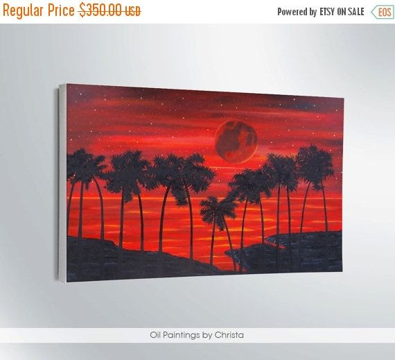 Moon art Bloody moon painting Large painting Home wall decor Super moon  Canvas Oil painting 24x36 Palms painting Sea Moonlight Gift ideas (245.00 USD) by OilpaintingsChrista