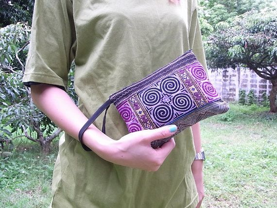 Wristlet Pouch Bag HMONG Vintage Fabric Fair Trade by EthnicLanna, $7.99