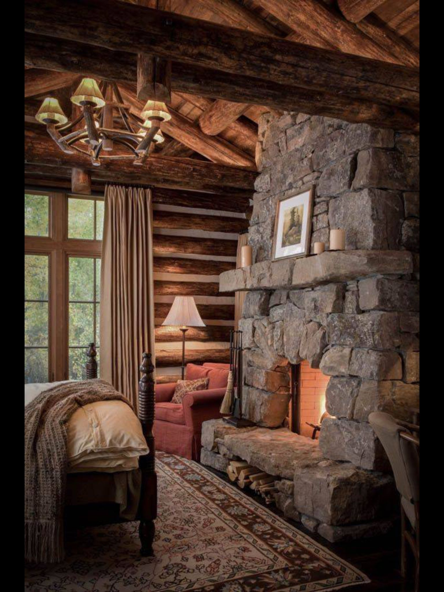 Love This Bedroom With A Little Reading Nook In The Corner Rustic Living Pinterest