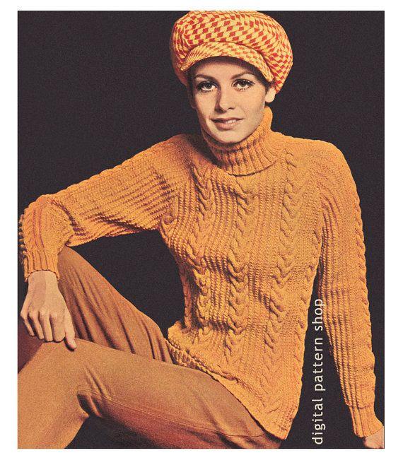 Cable Sweater Knitting Pattern Womens Knit Turtleneck Sweater Raglan