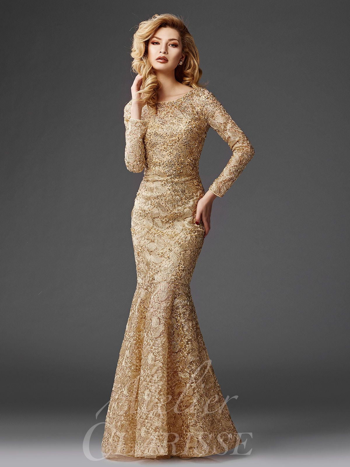 3e01ba86c561 Stunning Gold Lace Mermaid Evening Gown M6426 | Mother of the Bride ...