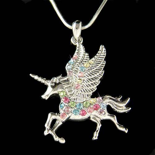 Rainbow Pegasus W Swarovski Crystal Horn Unicorn Fairy