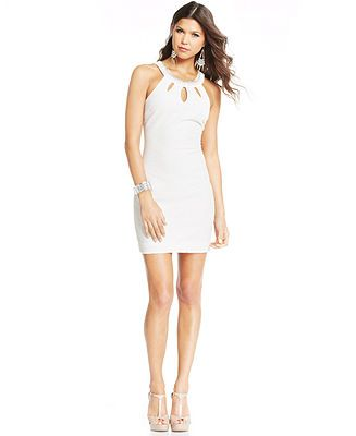 Teeze Me Juniors\' Textured Cutout Sheath Dress - Juniors Dresses ...