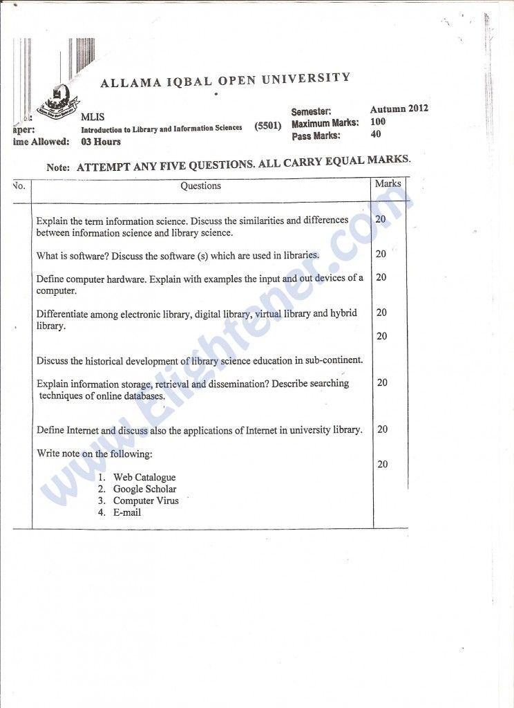 ILIS Course code 5501 Level MLIS Autumn 2012 aiou old papers - code of conduct example