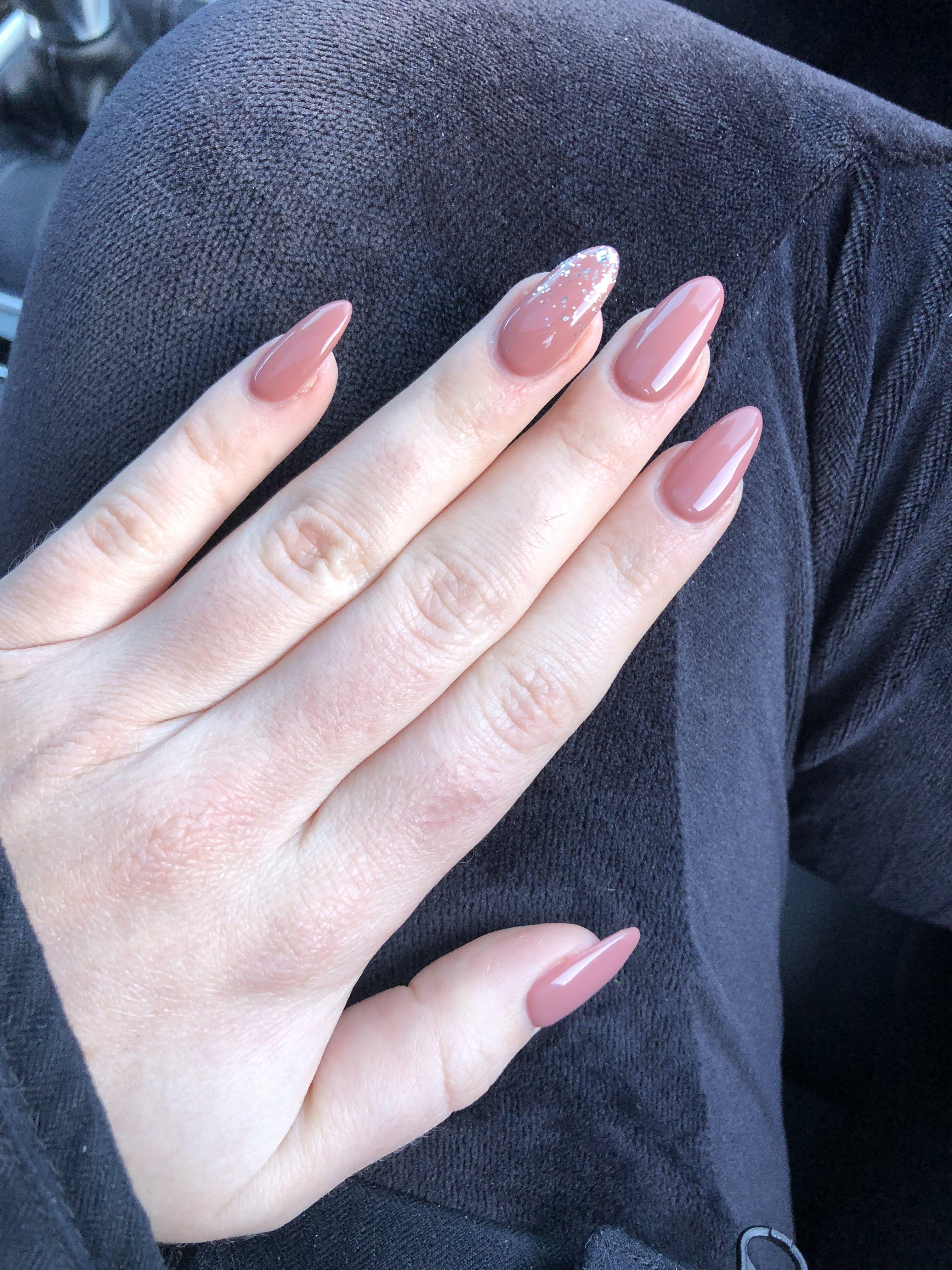 Almond Shape Acrylic Pink Mauve Nails Natural Sparkle Accent Nail January 2018 Mauve Nails Almond Shape Nails Nail Colors