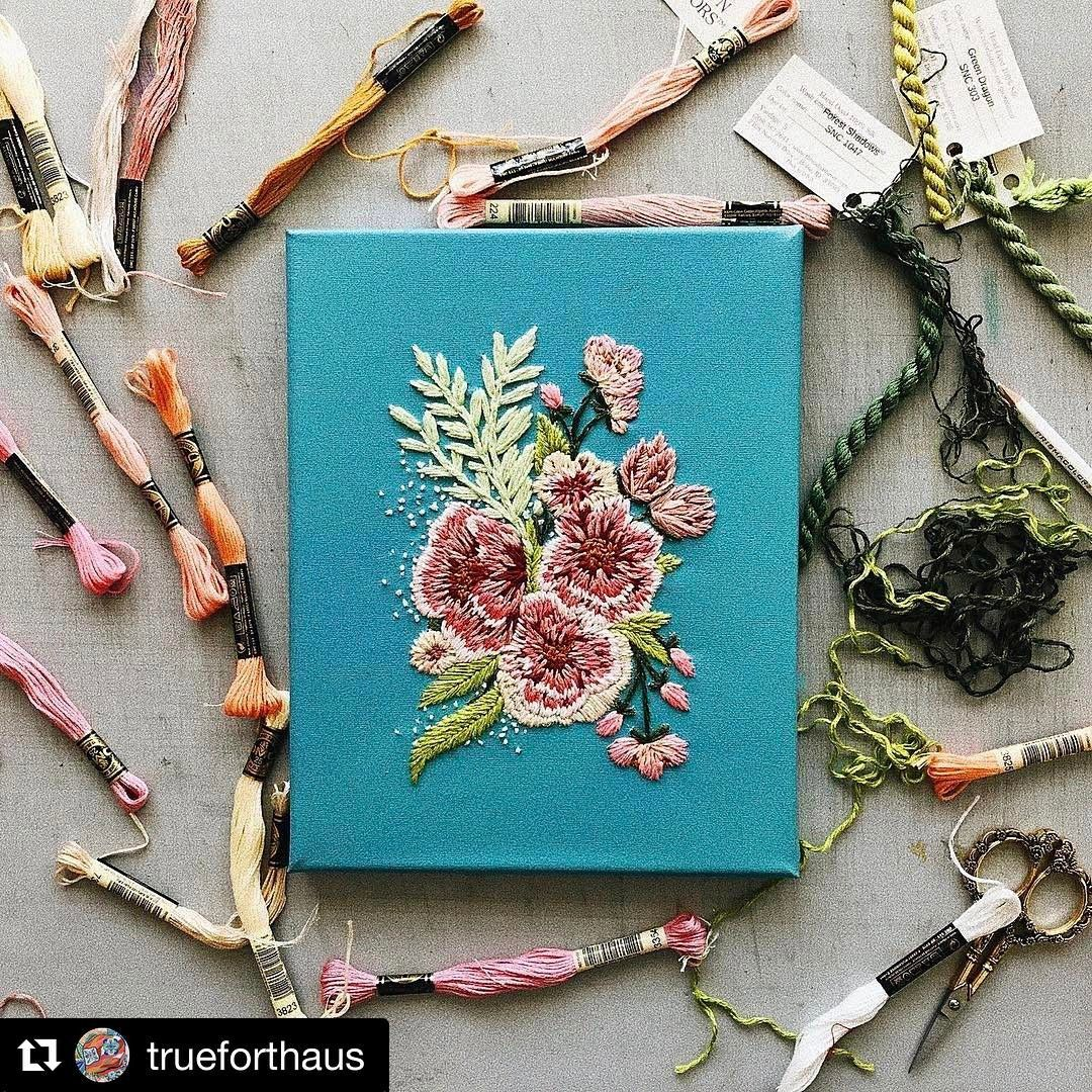 """Look at this beautiful piece by @trueforthaus, the greens are our #silkfloss from our Silk 'n Colors line. #thethreadgatherer #embroideryartist #embellishment #embroideryfloss #Repost @trueforthaus with @repostapp ・・・ """"Beauty is the harmony of purpose and form."""" Alvar Aalto. The green thread used in this piece are from @thethreadgatherer! Beautiful bold colors made of 100% hand dyed silk! Check her out!"""