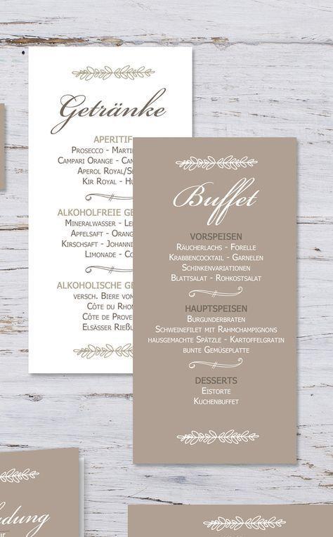 Getränkekarten Menükarten zur Hochzeit Mette & Haakon #weddingmenuideas