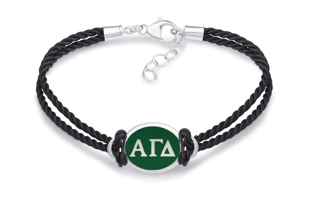 Alpha Gamma Delta Double Strand Rubber Bracelet with Color Enamel Top