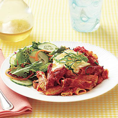 Slow-Cooker Baked Ziti    Cost per serving: $2.37    A family-pleasing dish like this is a great place to sneak in some extra vegetables. If you have leftover cooked carrots, zucchini, spinach or broccoli, chop up finely and add to the sauce. You can also prepare this dish with whole-wheat pasta for added fiber and other nutrients.