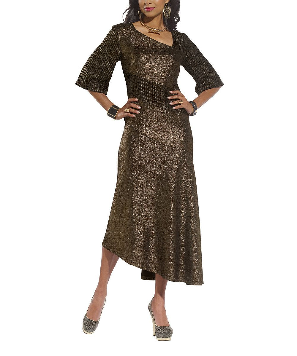 Look at this Gold Metallic Midi Dress - Women & Plus on #zulily today!