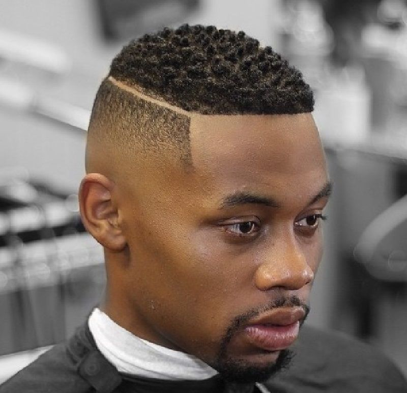 Cool Fade Haircut For Black Men With A Shaved Part Low Fade Haircut