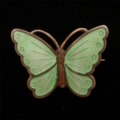 Butterfly Pin Vintage Albert Scharning Norway Sterling Silver Vermeil Enamel