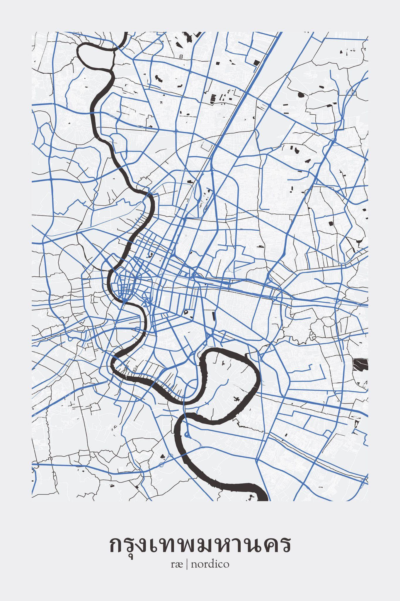 Bangkok Map Print City Maps Pinterest Bangkok And City Maps - Map of thailand cities