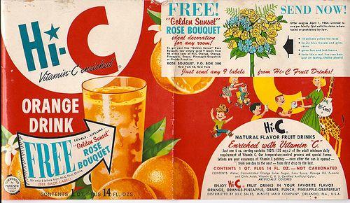 hostess apple pie 1960 | 1960's Hi-C Grape Drink label