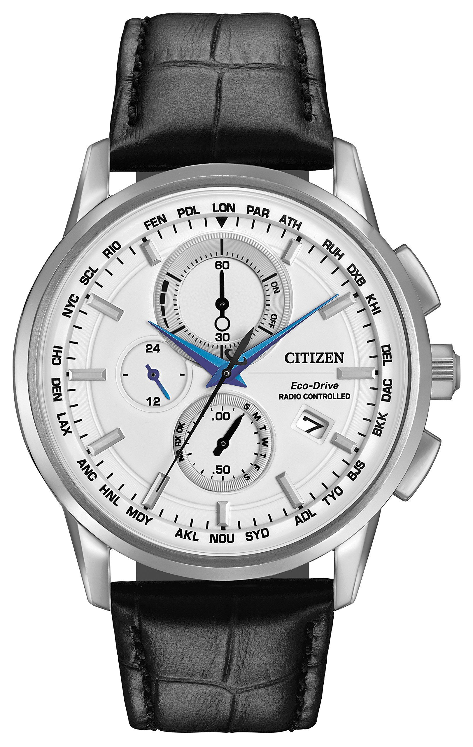 Citizen World Chronograph Men's Quartz Watch with White Dial Analogue  Display and Black Leather Strap AT8110-02A: Amazon.co.uk: Watches