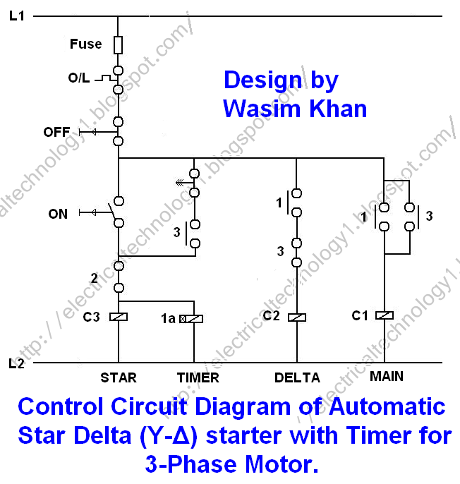 Star Delta Starter - (Y-Δ) Starter Power, Control & Wiring Diagram |  Electrical circuit diagram, Circuit diagram, Delta connectionPinterest