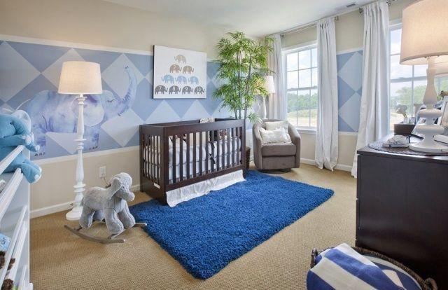 Babyzimmer einrichtung junge creme blau kombination for Wanddeko babyzimmer junge