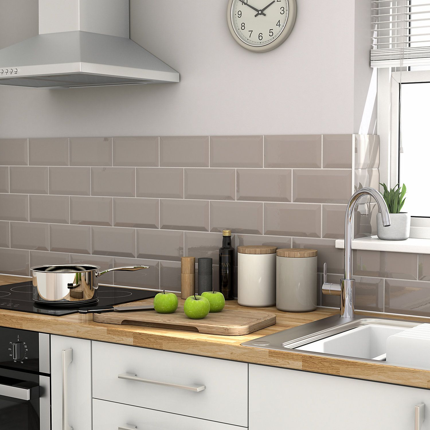 Trentie Taupe Gloss Ceramic Wall Tile Pack Of 40 L 200mm W 100mm Kitchen Flooring Kitchen Floor Tile Kitchen Wall Tiles