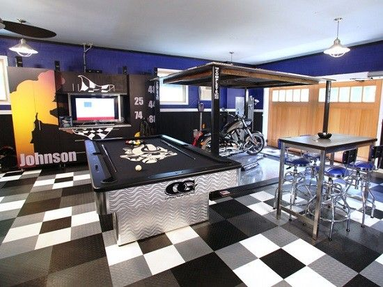 Black And White Garage Game Room
