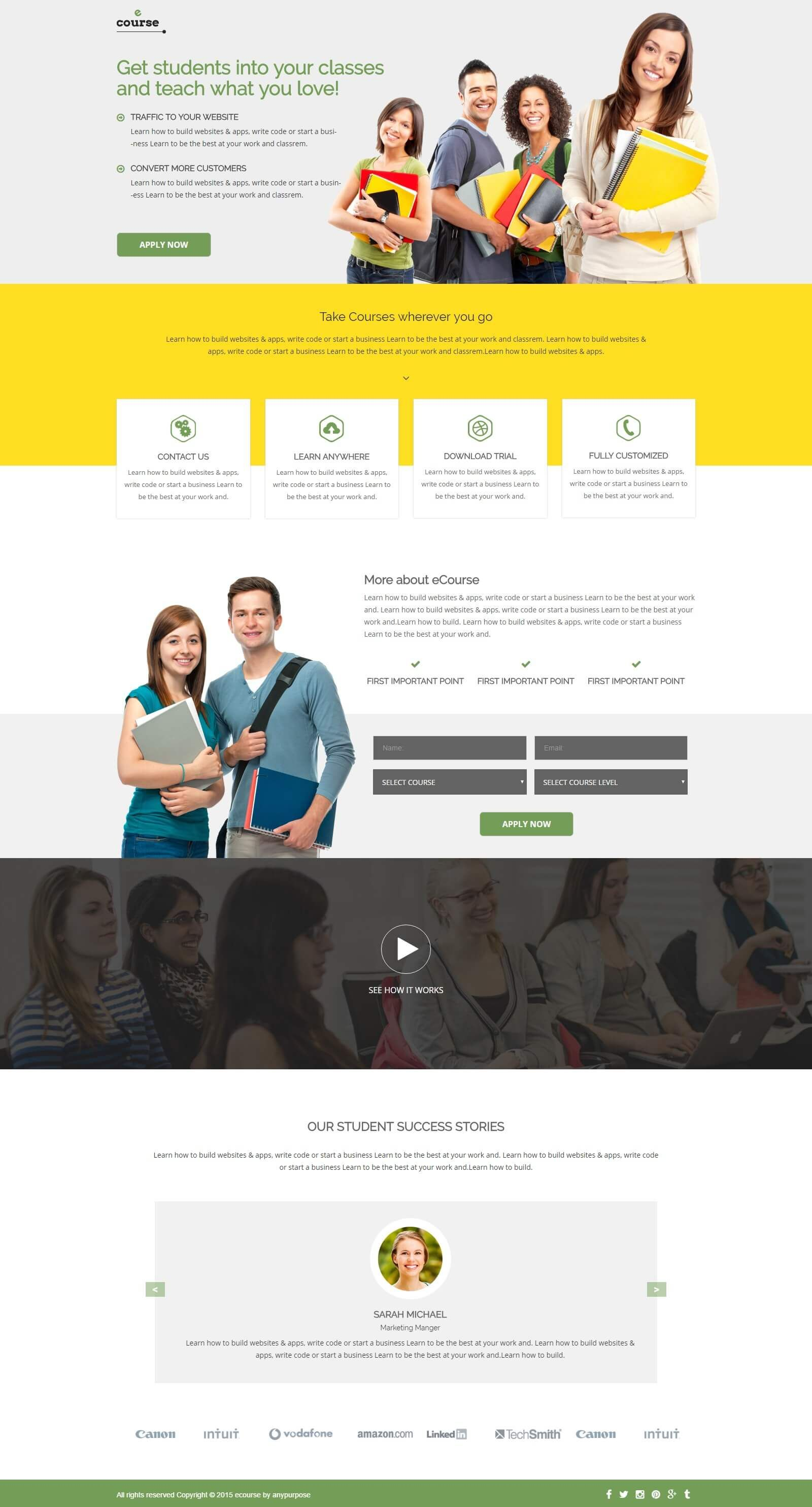 e-course responsive html5 landing page design template to get the