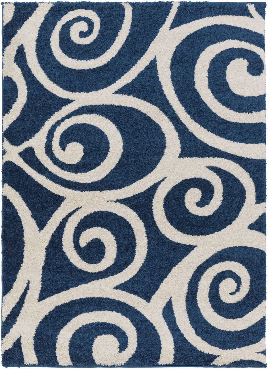 Enchanting plush area rug at an affordable price with a modern coastal appeal in dark blue shades and swirled with an ivory current design like an incoming